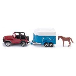 Siku Super: Seria 16 - Jeep Wranglera z przyczepą na konie 1651