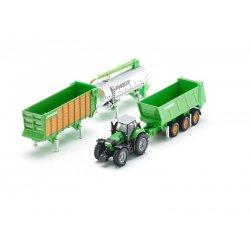 Siku Farmer: Seria 18 - Traktor z naczepą, przyczepą i cysterną 1848