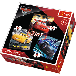 Puzzle 3w1 Legendy wyścigu - Cars 3