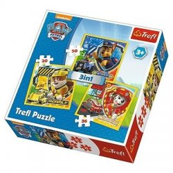 Puzzle 3w1 Marshall, Rubble i Chase - Psi Patrol