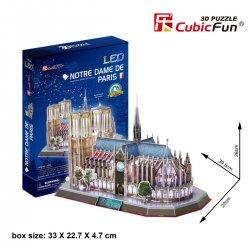Puzzle 3D Katedra NOTRE DAME LED