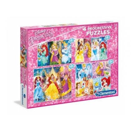 Puzzle 4w1 20, 60, 100 i 180el. Disney Princess