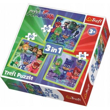 Puzzle 3w1 Gotowi do działania - Pidżamersi