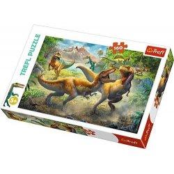 Puzzle 160 el. - Walczące Tyranozaury