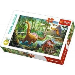 Puzzle 60 el. Wędrówka dinozaurów