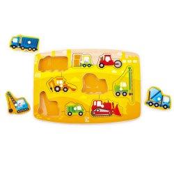 Drewniana układanka puzzle Budowlane Pojazdy HAPE 1407