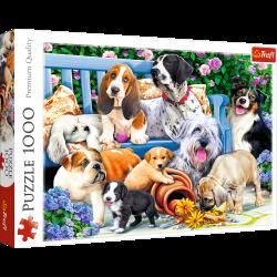 Puzzle 1000 el. Psy w ogrodzie