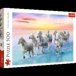 Puzzle 500 el. Białe konie w galopie